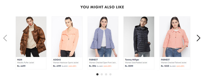 Personalized product recommendations for returning visitors