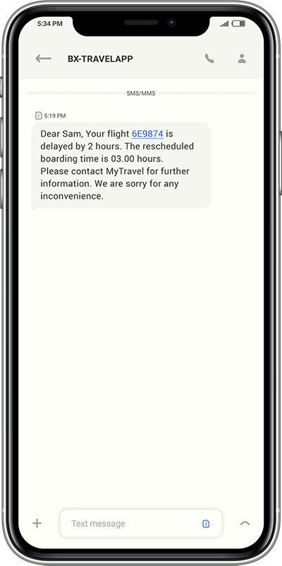 Flight delayed SMS
