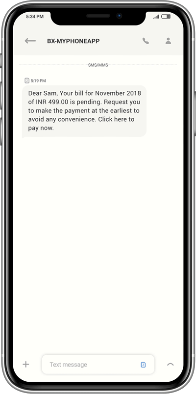 Payment reminder SMS