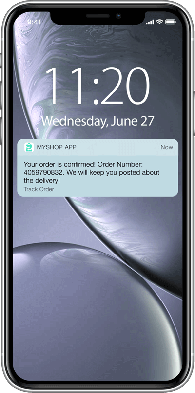 Send app notifications to update about order status, payment success/failure and others