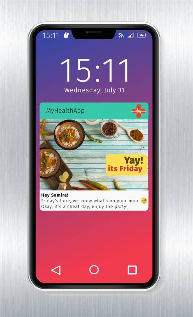 Fitness app attractive push notification message