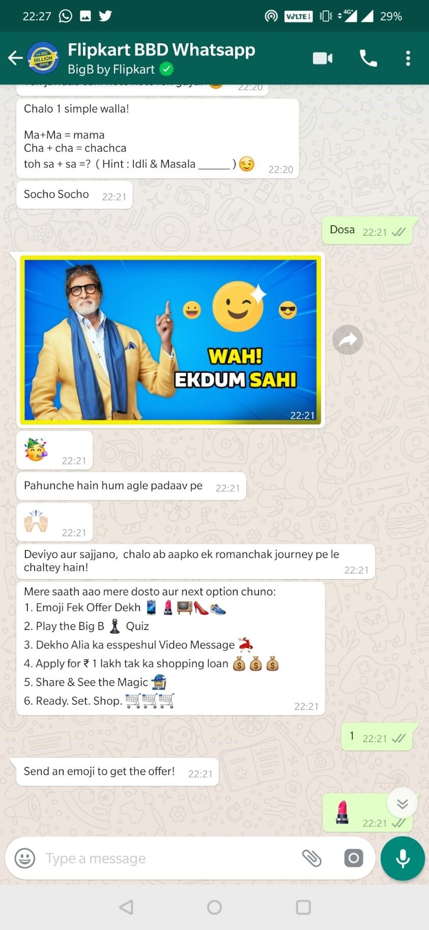 Flipkart's Big Billion Big B WhatsApp Bot Chat Options