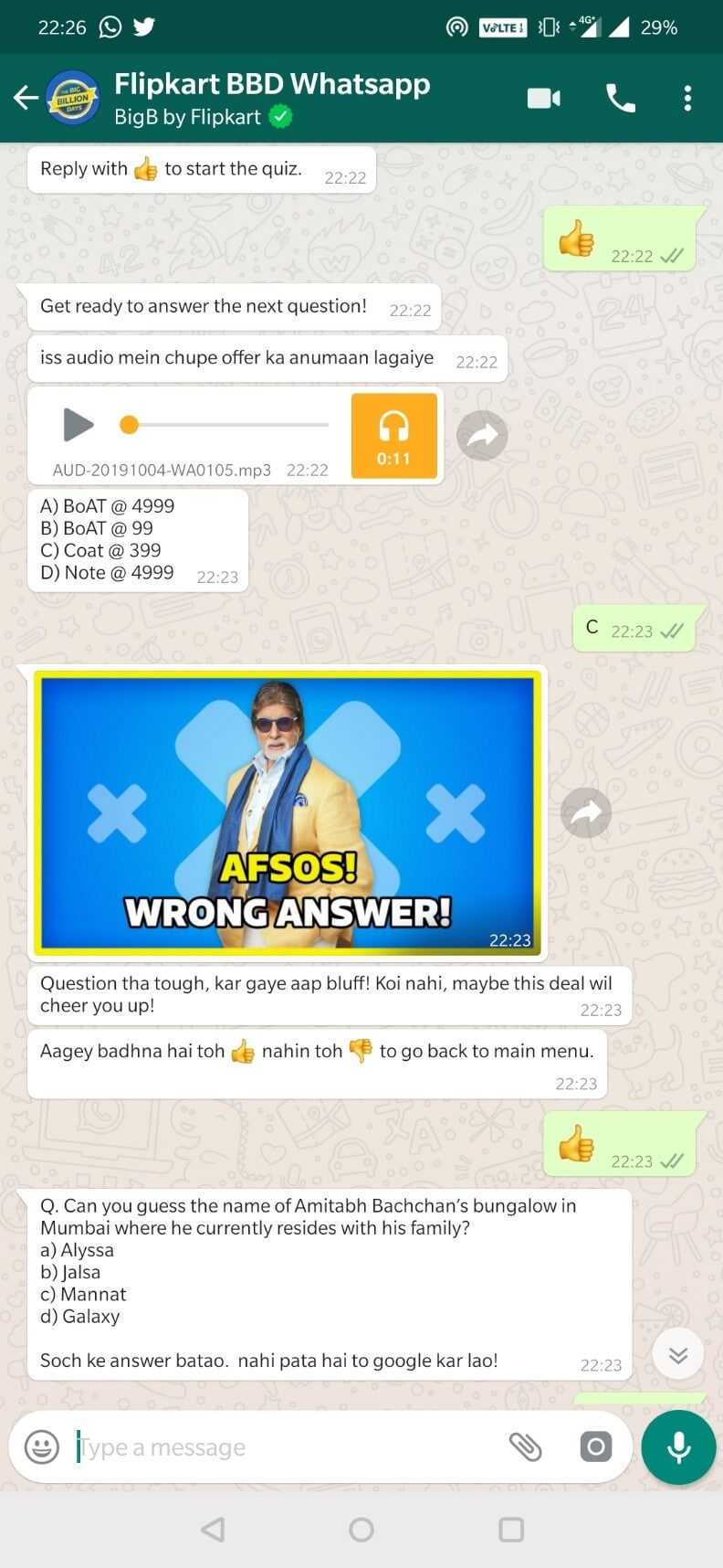 Play Quiz on Flipkart's Big Billion Big B WhatsApp Chatbot