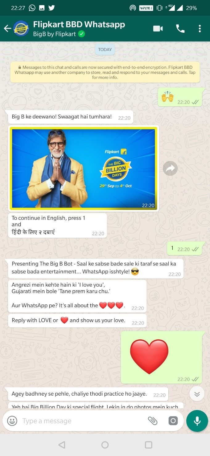 Flipkart's Big Billion Big B WhatsApp Chatbot Welcome Message