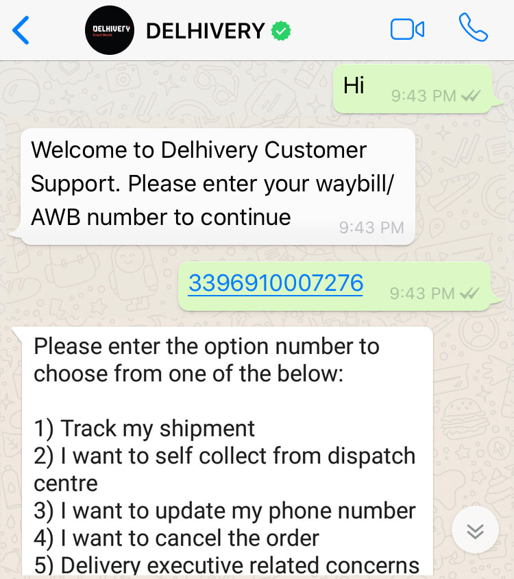 Delhivery support over WhatsApp Chatbot