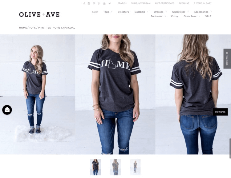 Olive Ave uses highly quality images to showcase their product