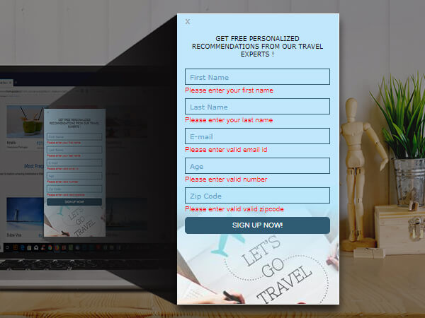 Lead capture form in web popup