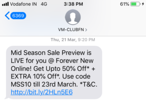 Mid Season Sales SMS Marketing Example