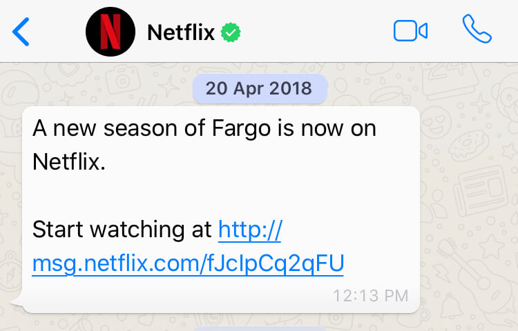 Recommendations by Netflix over WhatsApp