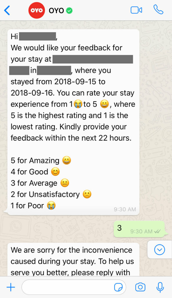 OYO collecting customer feedback over WhatsApp