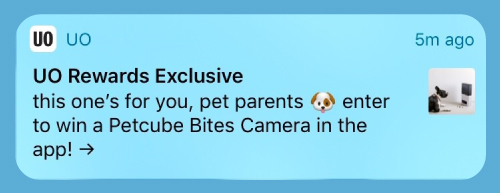 UO Push notification with emoji