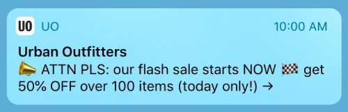 Urban Outfitters time-bound Push notifications that creates a sense of urgency