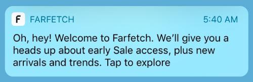 Farfetch welcome push notification