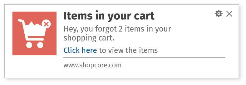 Cart abondonment web notifications