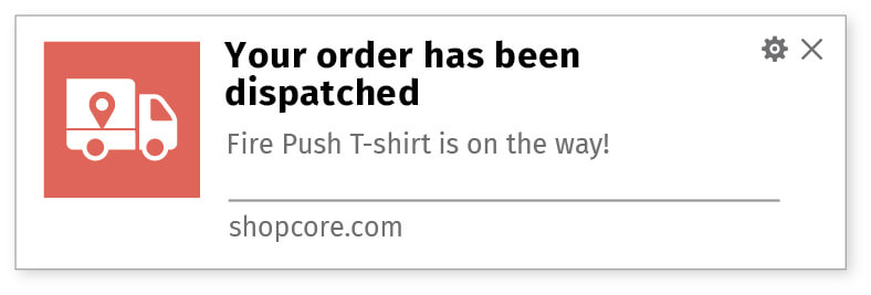 Inform about order dispatch using web notifications