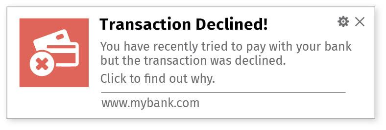 Transactional updates using website notifications