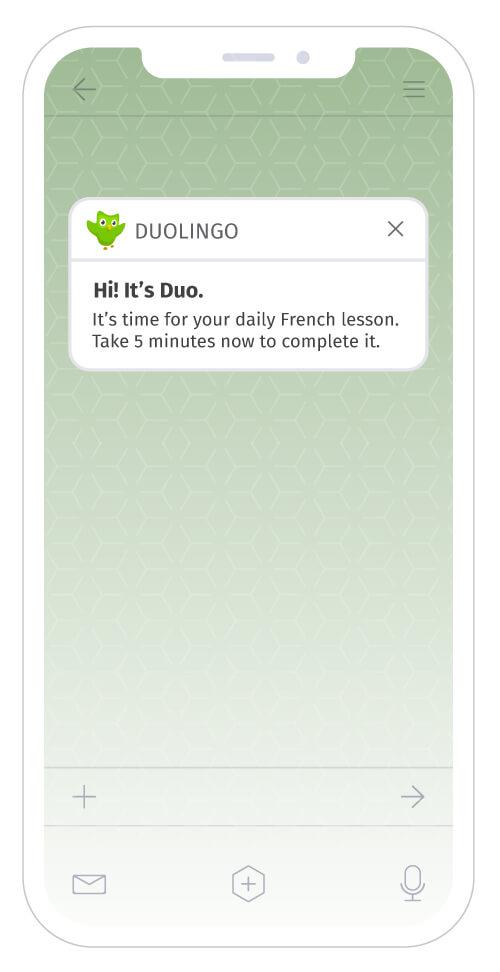 Duolingo reminder push notifications