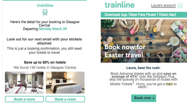 Trainline using emails to cross-sell hotels