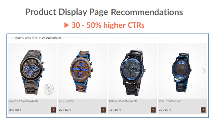 Product display page recommendations