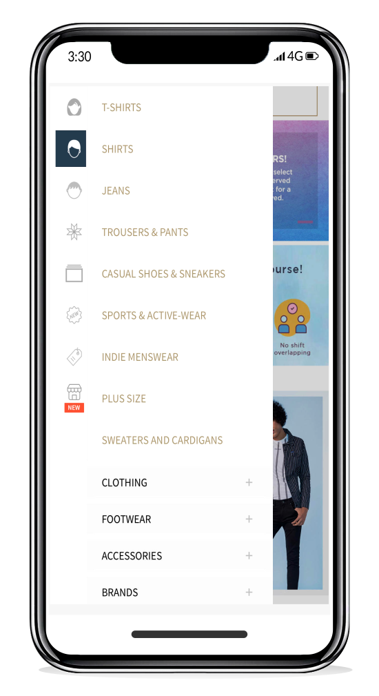 re-order listed product categories to show the most relevant categories, in real-time.