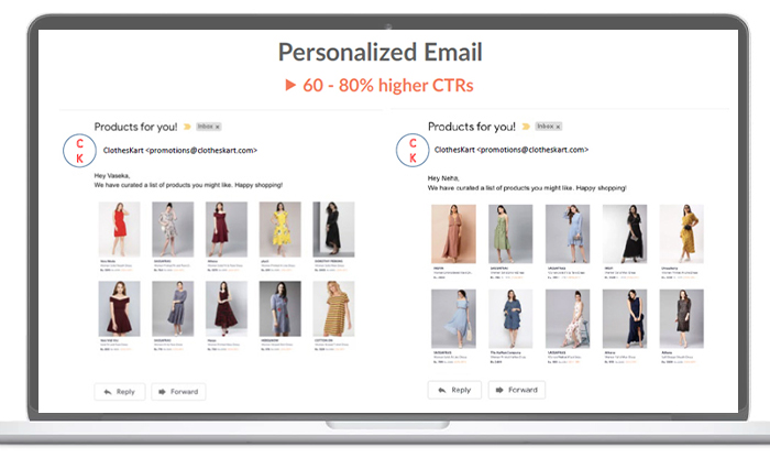 an example of personalized email which delivers predictive product recommendations