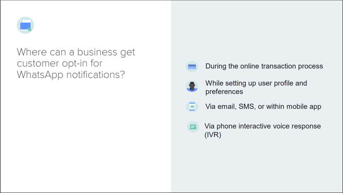Where a business can get customer opt-ins for WhatsApp notifications