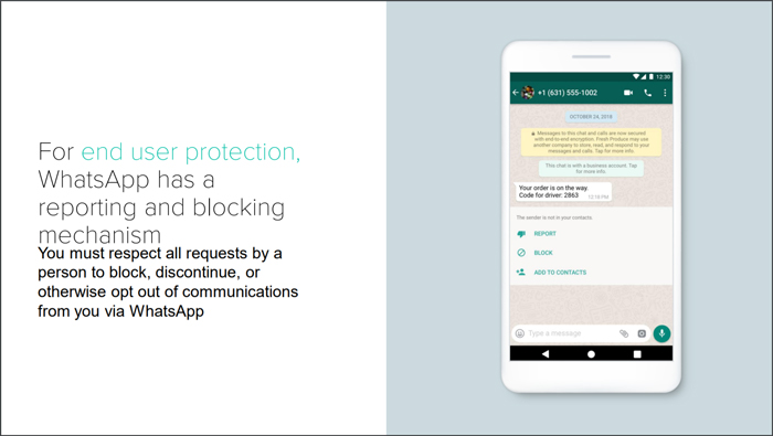 WhatsApp Business end user protection