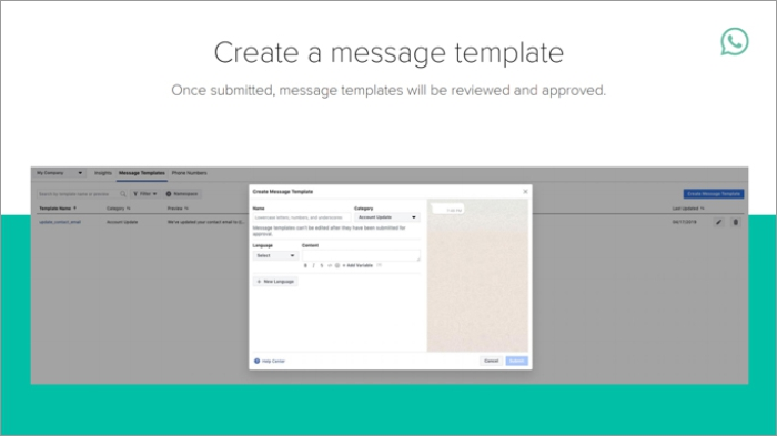 Message template created using WhatsApp Business API Console