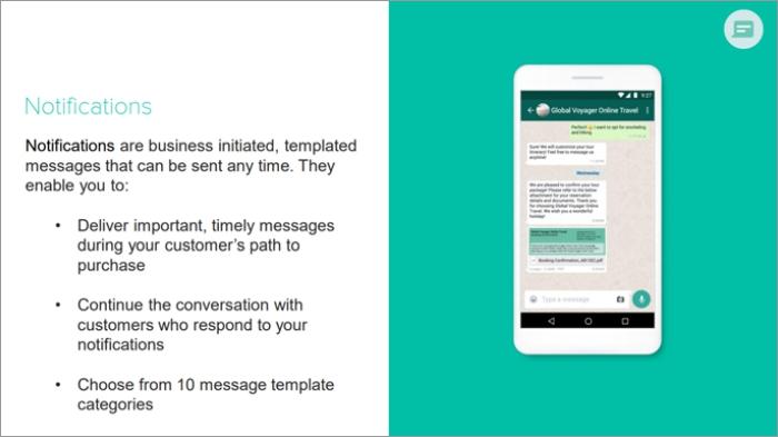WhatsApp business notifications
