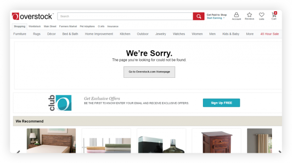relevant product recommendations on a 404 page