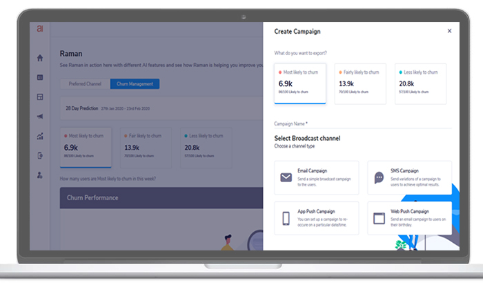 Create actionable and targeted campaigns with the 'Raman' dashboard